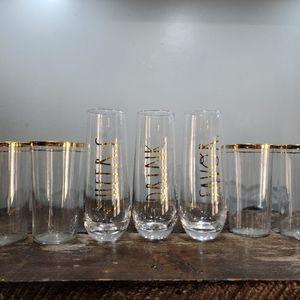 🌵Set of 4 Vintage Gold Rimmed Glasses Barware